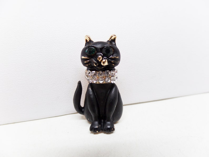 Adorable Black Cat with Crystal Collar Pin