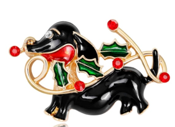 Adorable Crystal and Enamel Dachshund Dog with Holly Brooch!