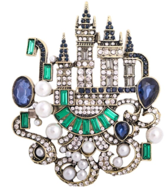 Exquisite Blue and Green Crystal & Pearl Castle Brooch Pendant!