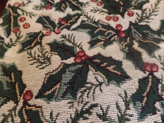 """Fabulous Vintage Holly Tapestry 72"""" Square Table Runner-New Old Stock"""
