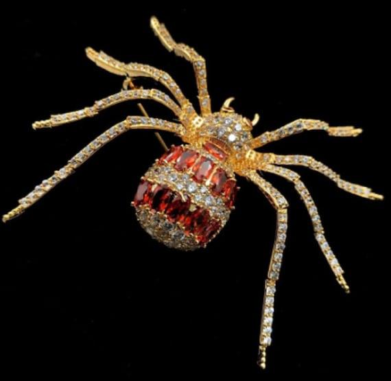 Gorgeous Topaz CZ Spider Brooch