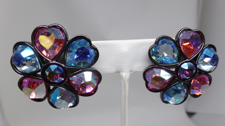 62aa6e8731c YSL Yves Saint Laurent Signed Vintage Aurora Borealis Crystal Heart Earrings