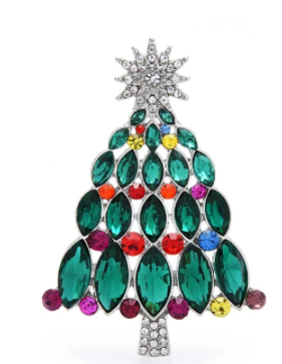 Gorgeous Green Marquise Crystal Holiday Tree Brooch