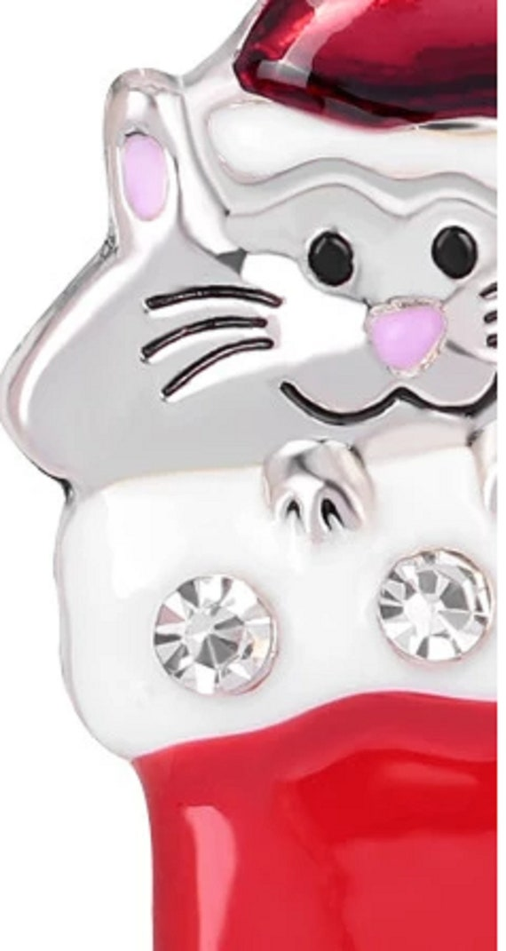 Adorable Crystal and Enamel Cat in Christmas Stocking Brooch!