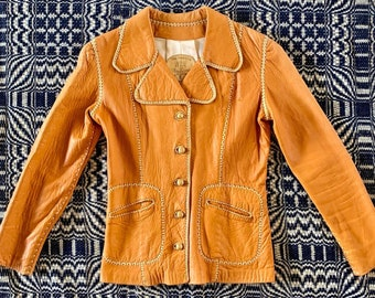 Very Late 1960s or Early 1970s North Beach Leather, Whip Stitched Leather Jacket, Buttery Soft, Supple Leather