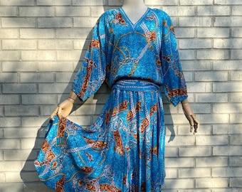 Vintage 1980s Ocean Blue Diane Freis Blouse and Skirt Set., 80s silk Diane Freis Dress set, 1980s blue, chains and horse bridle print set