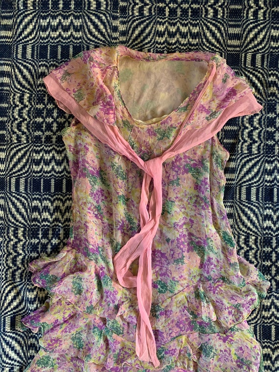 Late 1920s Early 1930s Silk Chiffon Dress, Floral… - image 2