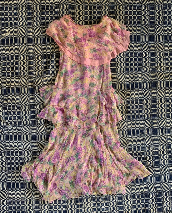 Late 1920s Early 1930s Silk Chiffon Dress, Floral… - image 3