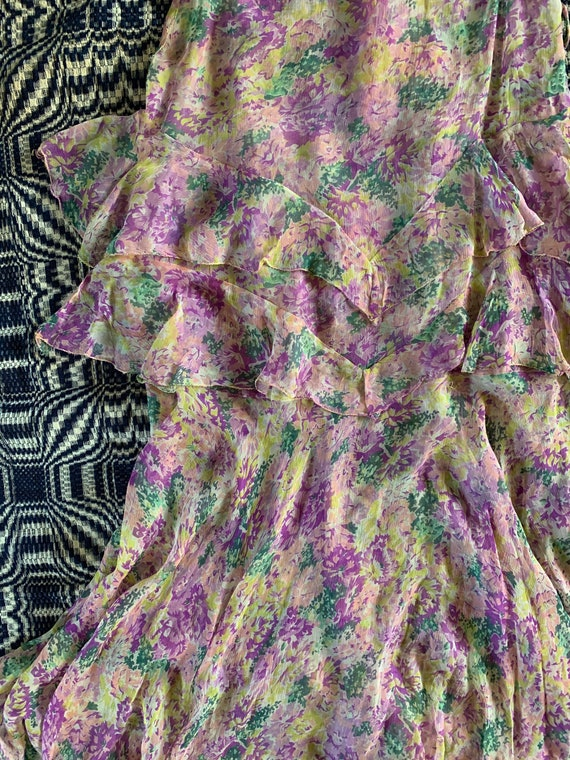 Late 1920s Early 1930s Silk Chiffon Dress, Floral… - image 4