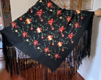 20s black silk piano shawl with red, green and taupe floral embroidery