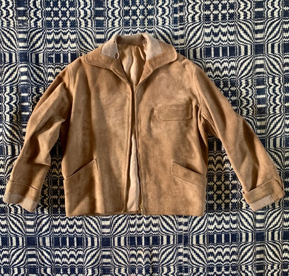 1940s Suede Jacket with Buckles at Waist, Metal Zi