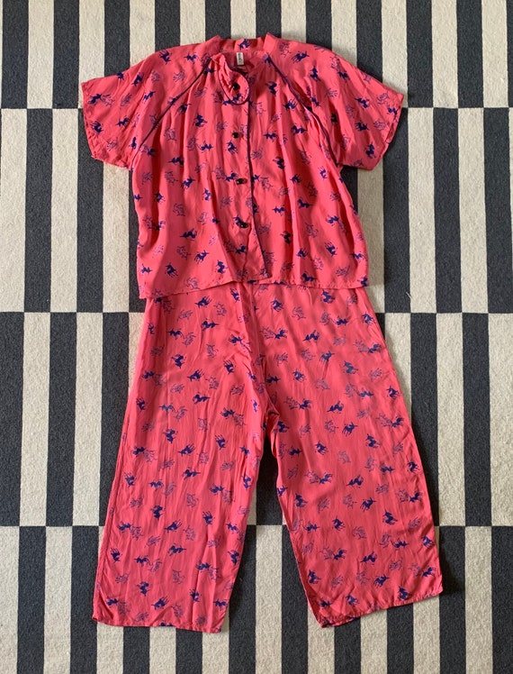 1940s Cold Rayon Pink Pajamas with Donkey Print, L