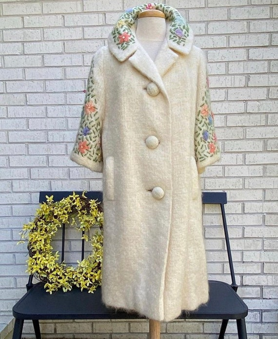 1950s vintage mohair coat, gold floral embroidery,