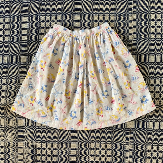 1930s/ 1940s Cotton Skirt with Fun Print, Extra Sm