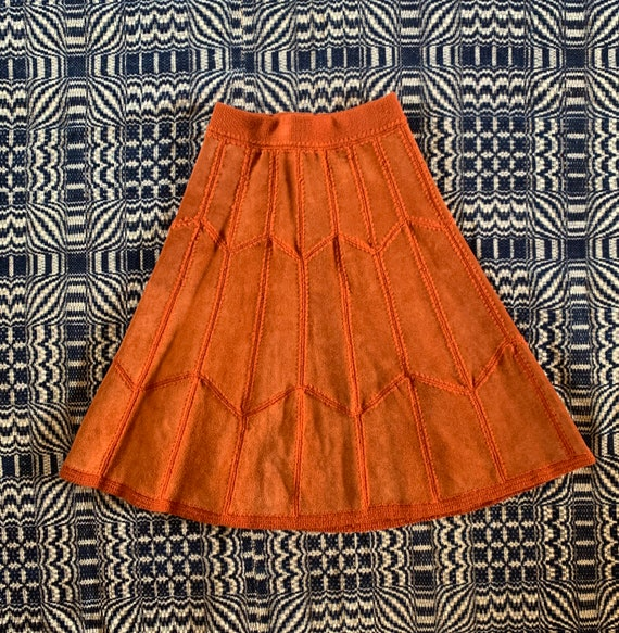 1960s or 1970s Suede, Rust Colored Patchwork Skirt