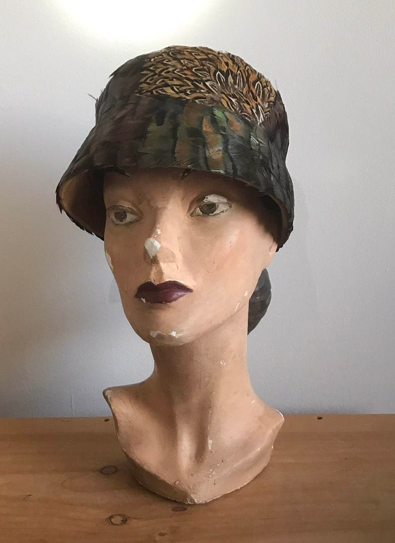 Late 1920s   Early 1930s Pheasant Feather Cloche Bucket Hat  f36cab2e15d0