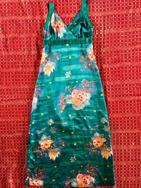 Vintage 1960s 1970s black cotton Hawaiian maxi dress floral novelty print Nani of Hawaii tiki gown