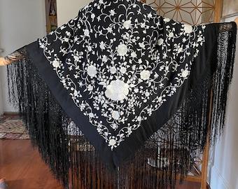 Gorgeous 20s black silk piano shawl with white embroidery & black fringe
