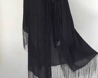 Antique black silk cape with double layer, fringe detail & Satin ribbon at front
