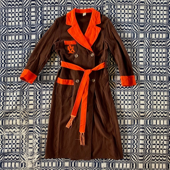 1930s Brown and Orange Wool Robe with Tie Belt and