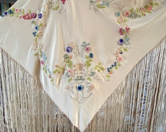 Vintage piano shawl with fringe and floral embroidery