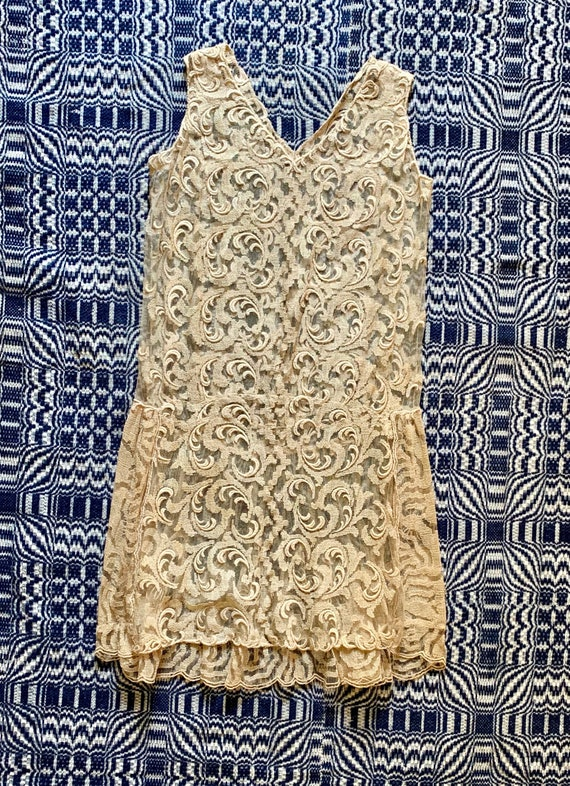1920s Champagne Colored Lace Dress, Wedding Dress