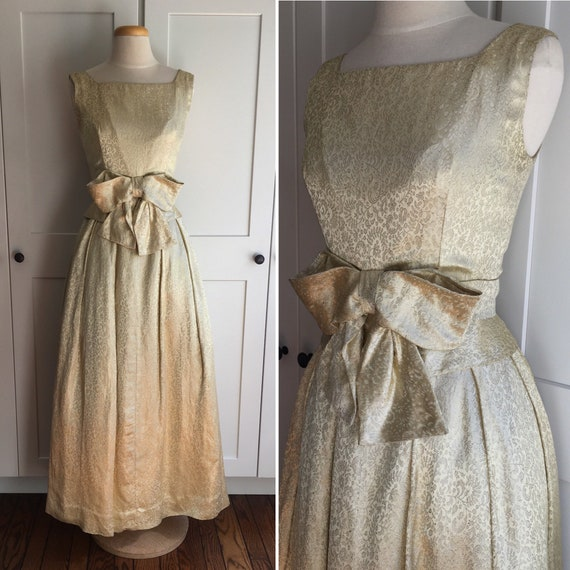 Vintage 1950s Gold Brocade Party Dress, 50s Gold E
