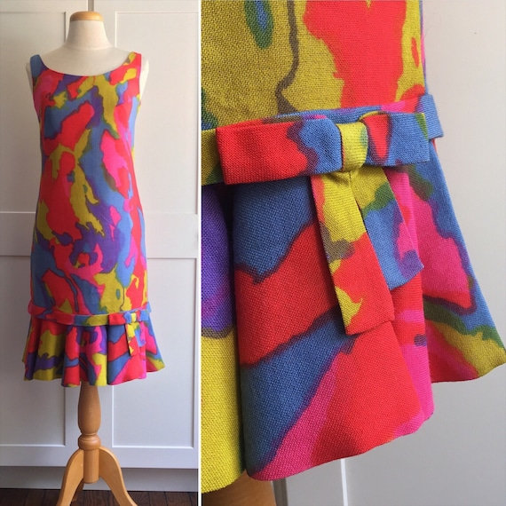 1960s Watercolor Floral Dress, Psychadellic Floral