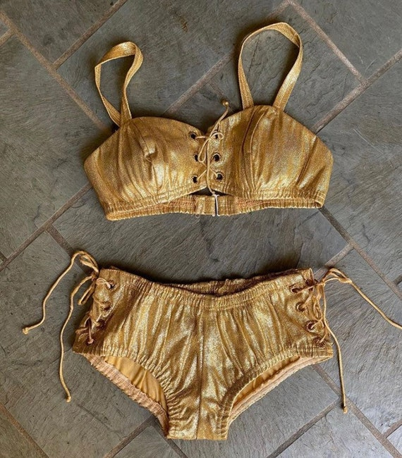 Ceeb of Miami 1960s iconic 2 piece lace up, gold l