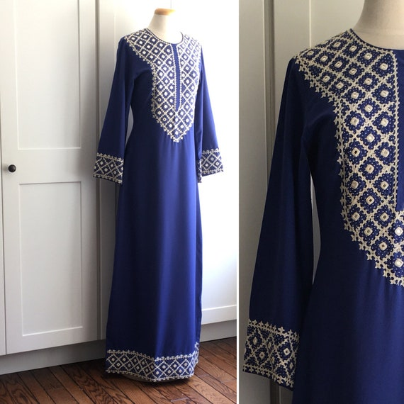 Vintage Navy Blue Mirrored Embroidery Beaded Dress Boho Etsy