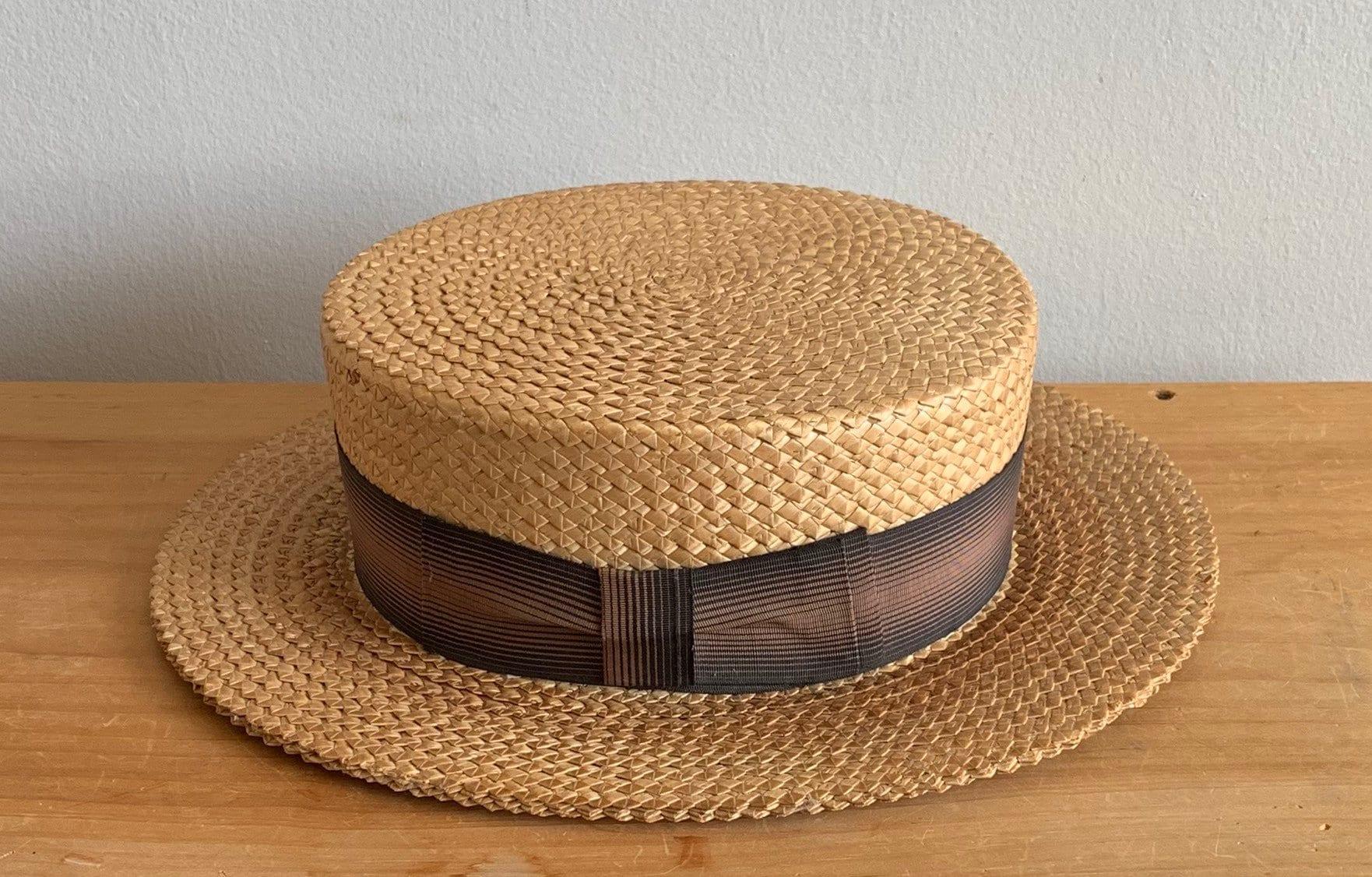 5a7225302f4 1910s 1920s Men s Boater Hat Straw Hat Burk   Co Vintage