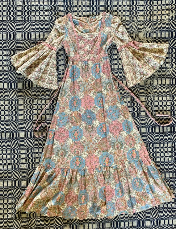 1970s Vicky Vaughn Calico Patchwork Look Maxi Dres