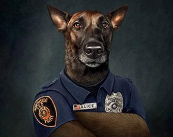 Canine Cop Character Custom Pet Portrait , Police dog pet portrait, Pet Lover gift, Your pet into a character, pet gift, cop, dog park