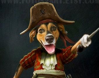 Custom pet portrait - Pirate Pet Portrait art, Personalized Gift, Gift pet lover, cat lover, dog lover, Unique pet gift, Pet art, Pet prints