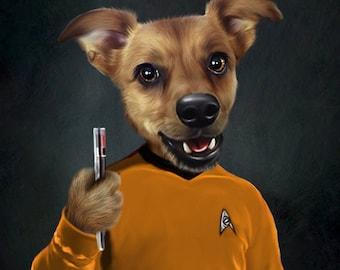 Star Trek Pet Portrait - Your Pet in Star Trek Costume / Star Trek Uniform - Custom star trek art print decal decor Star Trek Gift Birthday