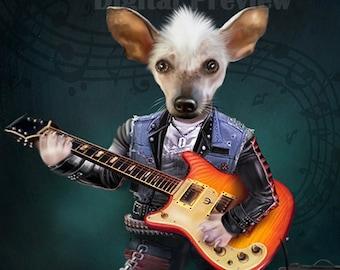 Guitar Personalized Pet Portrait. Custom Pet Portrait. Dog Portrait. Cat Portrait. For Pet Lovers gift  pet gift  pet memorial pet character