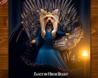 GAME OF THRONES, Custom Pet Portrait, Daenerys, Game of Thrones Gift, Pet Portrait, Gift for her, Gift for wife, Gift for girlfriend, gift