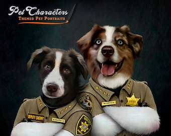 Canine Cop / Deputy and Sheriff Custom Pet Portrait , Police dog pet portrait, Pet Lover gift, Your pet character, pet gift, cop, watch dog