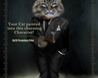 PET PORTRAIT Custom Cat Dog Portrait Painting Wearing a Suit and Cigar, Pet memorial Portrait Art , Mother's Day Gift for mom, Dog mom