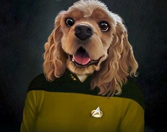 Star Trek The Next Generation Female Pet Portrait - Pet gift - Your pet into a Star Trek character, pet lover, cat, dog,  Star Trek Print