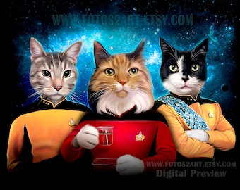 STAR TREK Custom Pet portrait, Star Trek Pets in uniform costume, The Next Generation tng Gift for him Gift for boyfriend Gift for Husband