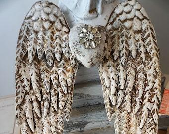 Angel wings distressed rust metal white w/ gray hints embellished rhinestone heart shabby farmhouse wall hanging decor anita spero design