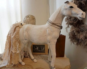Antique farmhouse horse statue white distressed French Nordic figure w/ embellished tattered lace tail home decor anita spero design