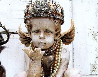 Cherub angel statue w/ handmade rhinestone crown angelic figure distressed painted French shabby cottage chic home decor anita spero design