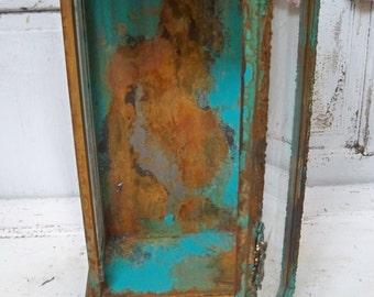 Ornate glass display box rusty turquoise metal observation vitrine showcase piece with door Anita Spero