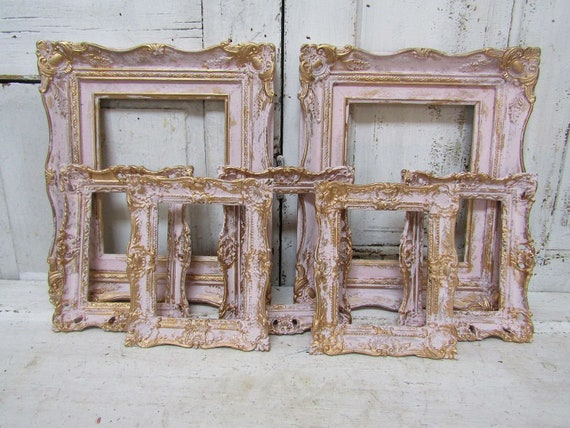 1b417e84b84d Picture frame grouping vintage ornate gallery of pink gold