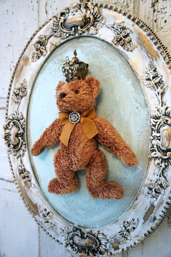 Teddy Bear Stuffed Animal Framed Brown Furry Bear With Crown Etsy