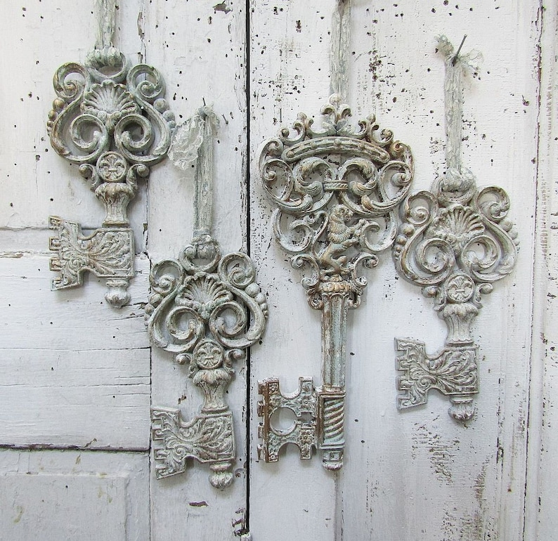 8f8ea2244e33 Vintage large key wall grouping shabby cottage chic blue and