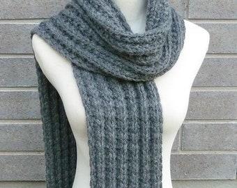 Alpaca Wool Scarf - Charcoal Grey Scarf - Grey Wool Scarf - Long Wool Scarf - Chunky Knit Scarf - Unisex Scarf - Ready to Ship