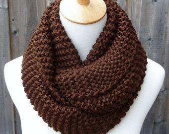 Chocolate Brown Infinity Scarf - Dark Brown Infinity Scarf - Chunky Knit Scarf - Circle Scarf - Ready to Ship